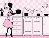 An elegant woman in a retro style kitchen. Click below for more food and drink images