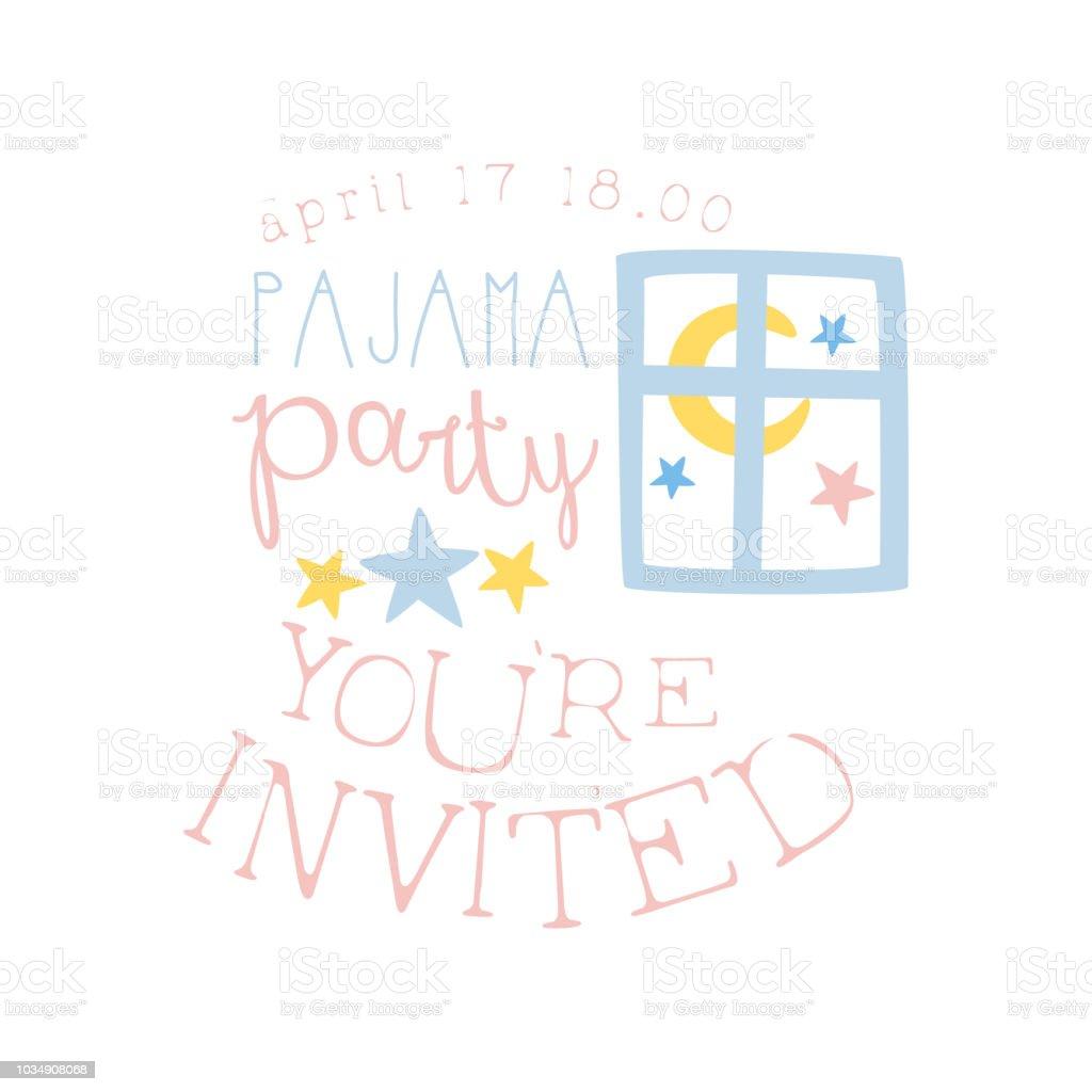 girly pajama party invitation card template with night window