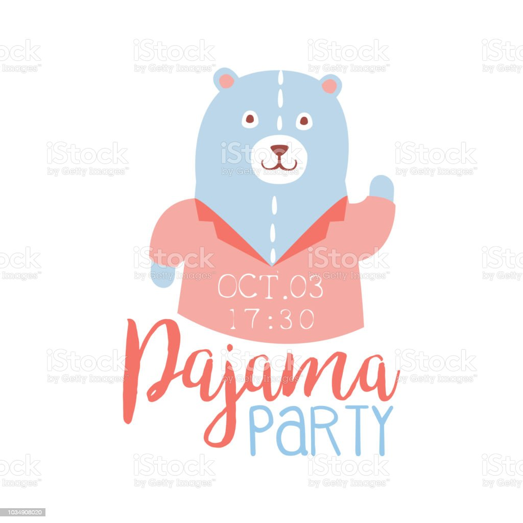 Girly Pajama Party Invitation Card Template With Teddy