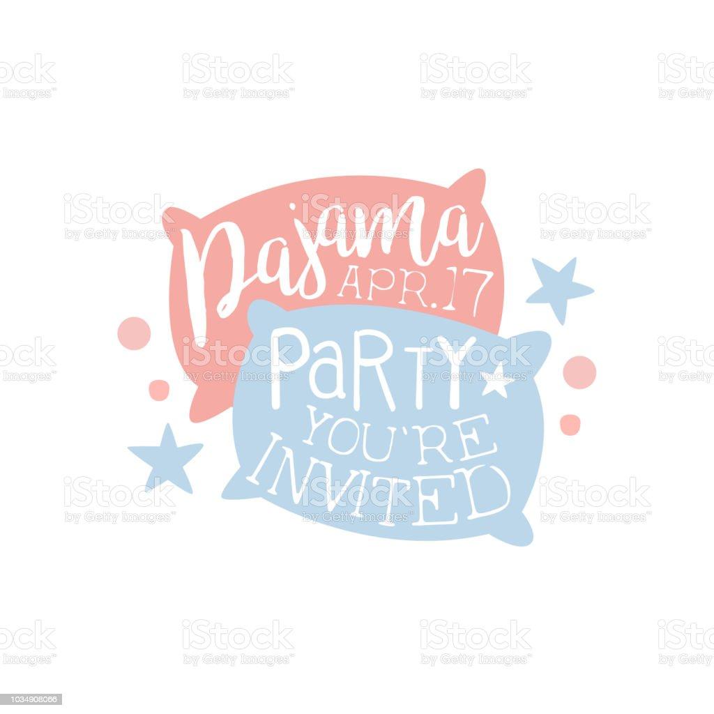 Girly Pyjama Party Einladung Kartenvorlage mit zwei Kissen lädt Kinder für den Pyjama Pyjama über Nacht Sleepover – Vektorgrafik