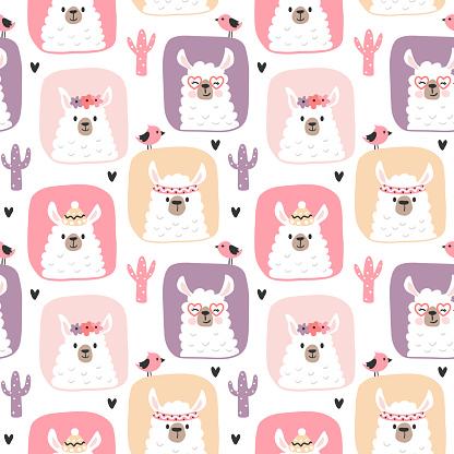 Girly pattern with cute llamas.