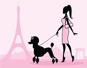 A chic parisian girl walking her poodle. Click below for more travel and vacation images