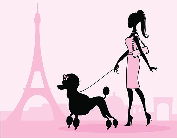 ilustrações, clipart, desenhos animados e ícones de poodle pé feminino - moda parisiense