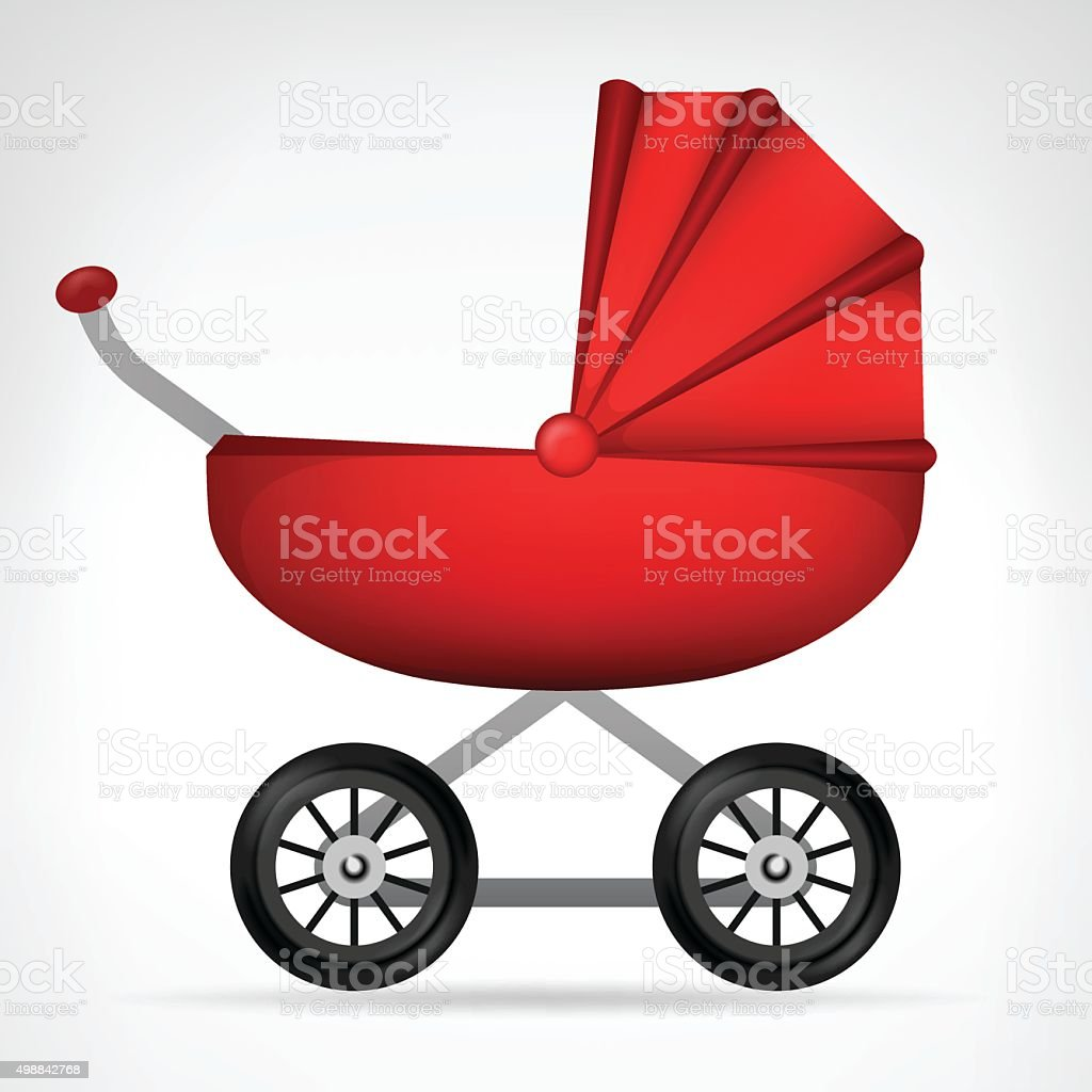 girly red stroller object isolated vector vector art illustration