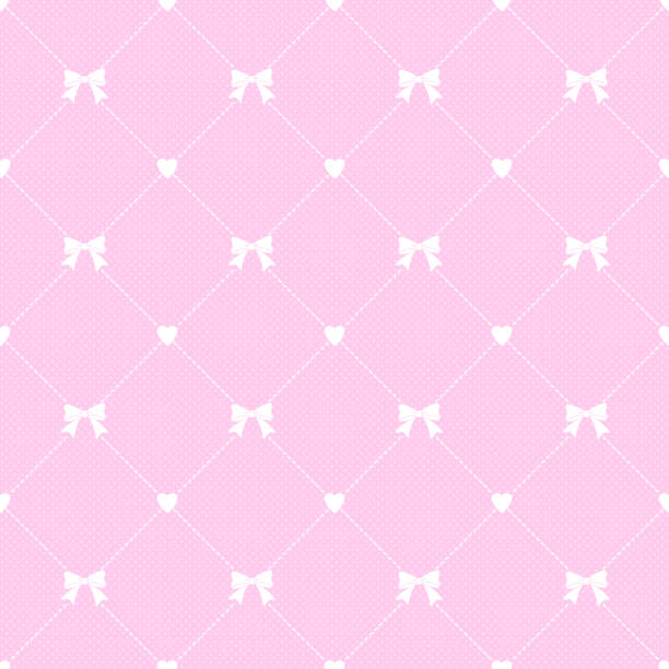 Girly seamless pattern with ribbon vector art illustration