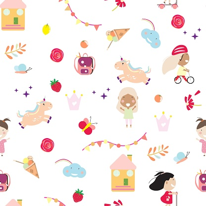 Girly seamless pattern with toys and children.