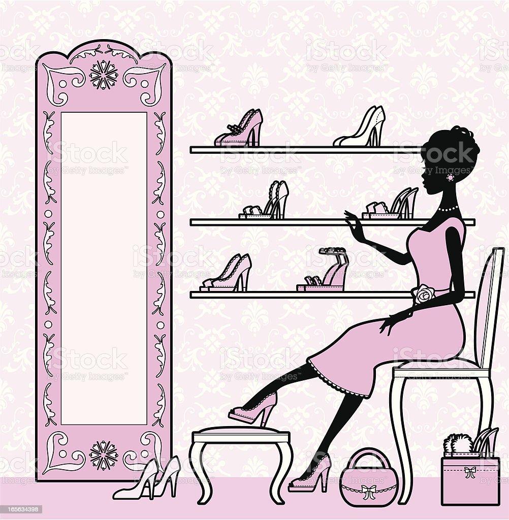 Girly Shoe Shopping royalty-free stock vector art