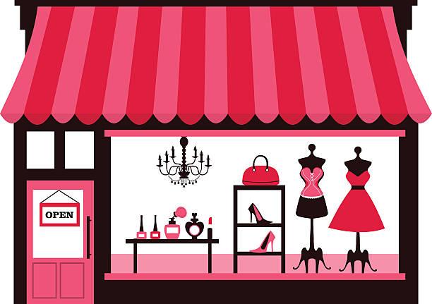 illustrations, cliparts, dessins animés et icônes de vitrine féminine - vitrine magasin