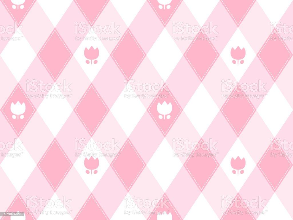 Girly tulip seamless pattern vector art illustration