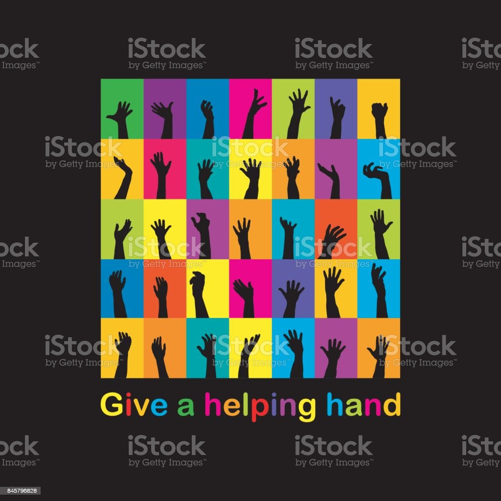 Give a helping hand concept vector art illustration