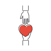 Give heart, minimal line design. Vector illustration flat style. Holding red heart in hands. Isolated on white background. Symbol of charity, love, sincerity.