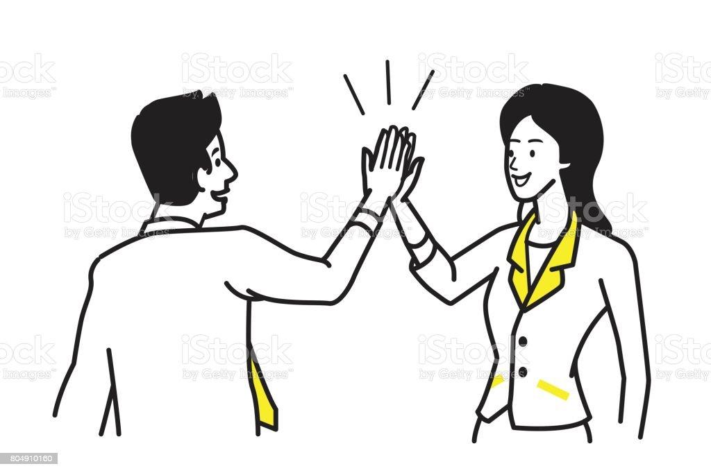Give High Five motivation vector art illustration