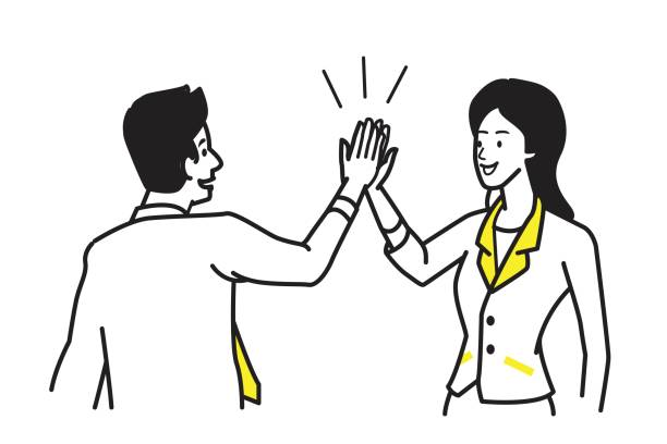 Give High Five motivation vector art illustration