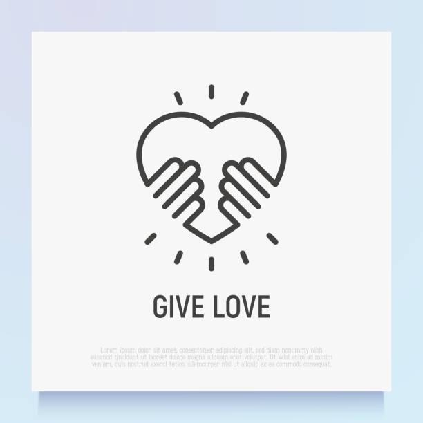 stockillustraties, clipart, cartoons en iconen met geef liefde dunne lijn icoon. handen houden hart. symbool van adoptie, ondersteuning en liefdadigheid van kinderen. logo voor donatie gemeenschap. moderne vector illustratie. - adoptie