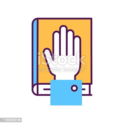 Give oath line color icon. Palm on Holy Bible. Judiciary concept. Sign for web page, mobile app, button, logo. Vector isolated button. Editable stroke.