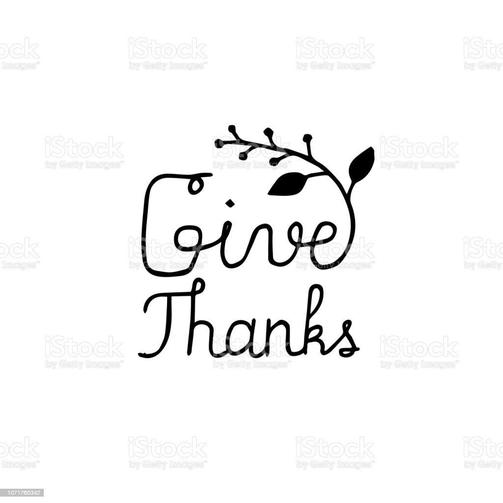 Give Thanks hand written quote for thanks giving card or invitation