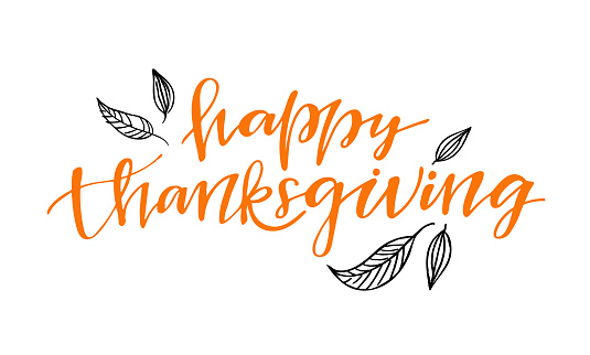 Give thanks - Happy thanksgiving day - hand drawn lettering postcard template banner