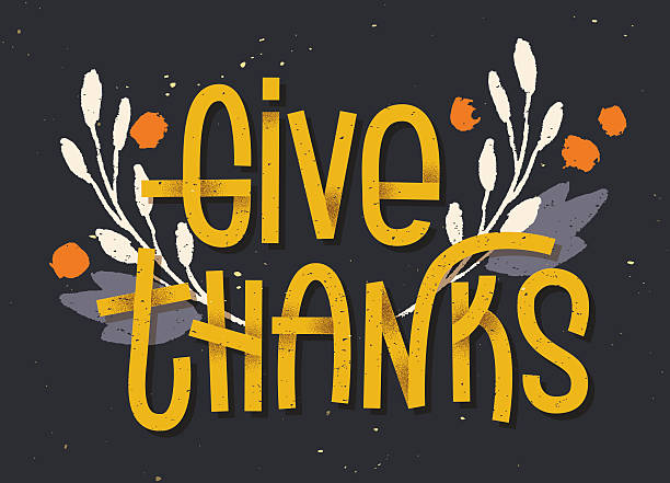 give thanks lettering. letterpress inspired greeting card with c - vielen dank stock-grafiken, -clipart, -cartoons und -symbole