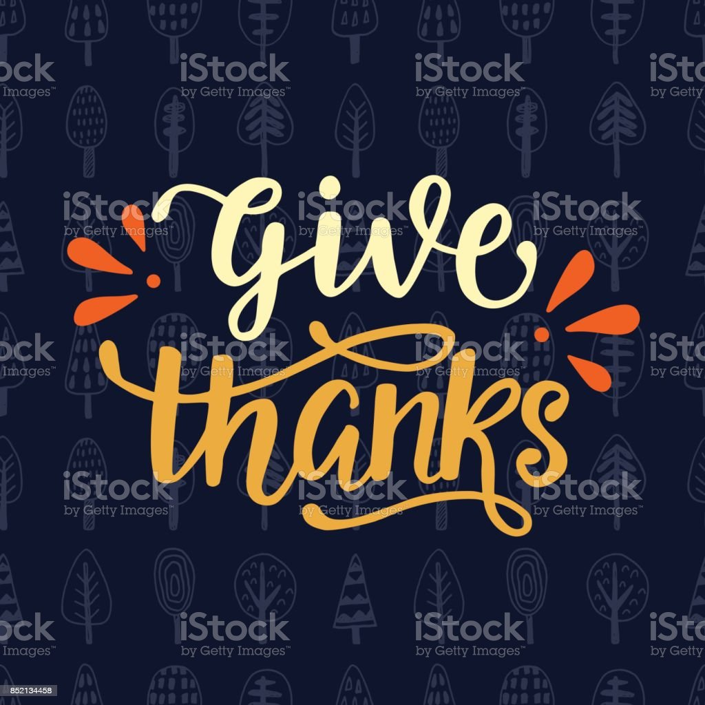 Give Thanks. Thanksgiving Day poster vector art illustration