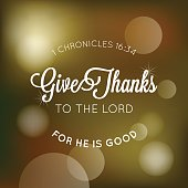 give thanks to the lord typographic from bible