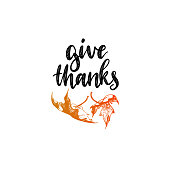 Give Thanks vector lettering on white background. Maple leaf hand sketch illustration for Thanksgiving invitation or greeting card template.