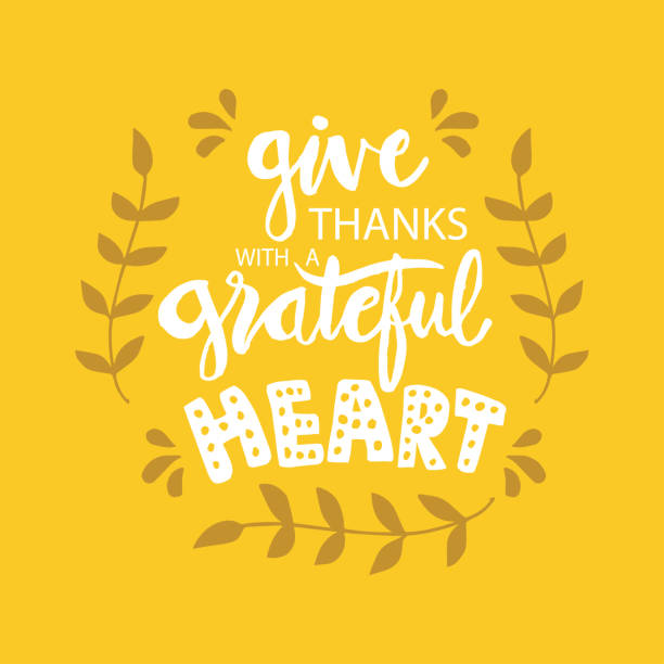 give  thanks with a grateful heart. motivational quote. - thank you background stock illustrations