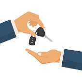 Give the car key concept. Take auto key. Rent, buy a hehicle. Vector illustration in flat design.