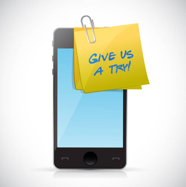 daj nam post spróbować na telefon. projekt ilustracji - post it notes stock illustrations