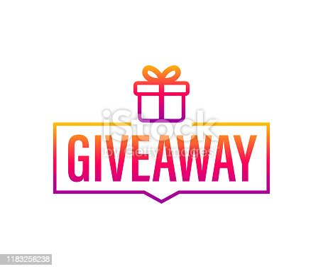 Giveaway banner for social media contests and special offer. Vector stock illustration