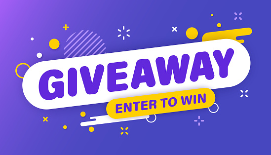 Giveaway banner. Post template. Win a prize giveaway. Social media poster. Vector design illustration