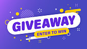 istock Giveaway banner. Post template. Win a prize giveaway. Social media poster. Vector design illustration. 1255875153