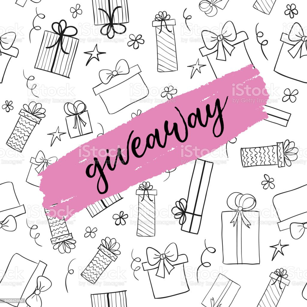 giveaway card vector template for social media stock vector art