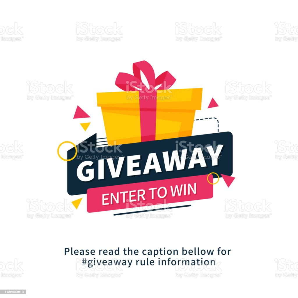 Giveaway enter to win poster template design for social media post or website banner. Gift box vector illustration with modern typography text style. - Grafika wektorowa royalty-free (Bodziec)