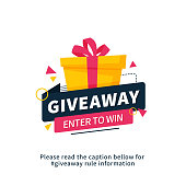 istock Giveaway enter to win poster template design for social media post or website banner. Gift box vector illustration with modern typography text style. 1136503813