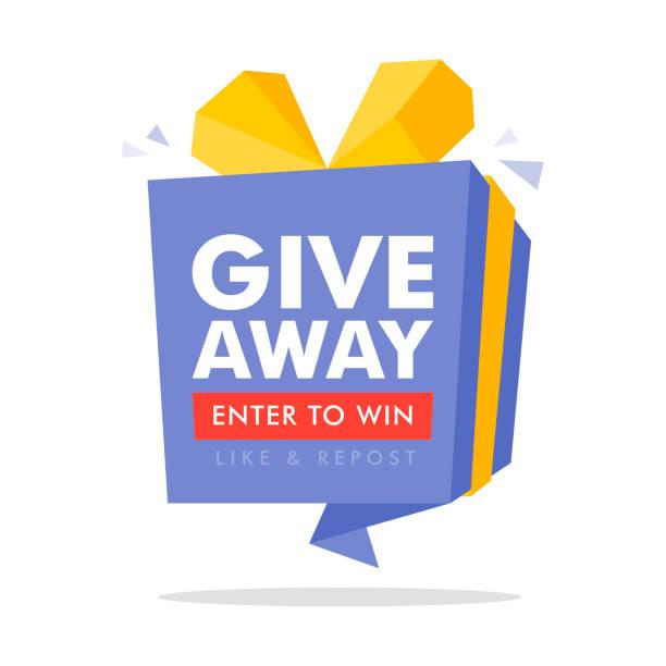 Giveaway geben Sie ein, um Poster-Vorlagen-Design für Social-Media-Post oder Website-Banner zu gewinnen. Geschenk-Box Vektor-Illustration mit modernen Typografie-Text-Stil. – Vektorgrafik