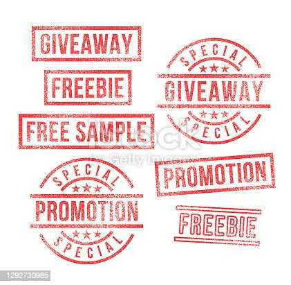 istock Giveaway Promotion Free Sample Marketing Rubber Stamps 1292730985