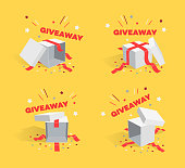 Giveaway sale symbols, Special promotion symbols with opened gift boxes. Easy to use for your advertisement.