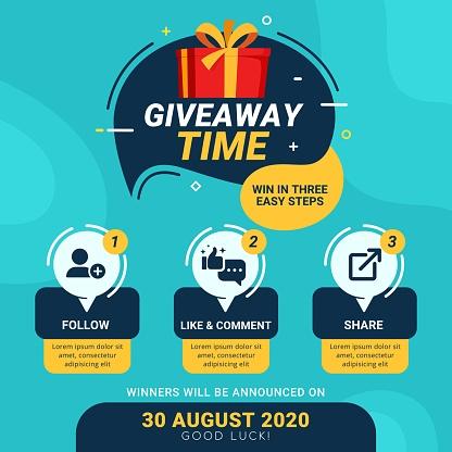 Giveaway steps for social media contest design concept