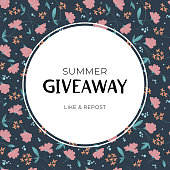 Giveaway summer floral vector frame template. Illustration with green leaves and pink flowers on dark background. Banner of giving present for like or repost advertising in social network.