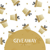 """Giveaway vector frame template for card. Golden gift box and dots with text """"giveaway"""" in semicircular frame. Holiday advertising banner design for like or repost of business account."""