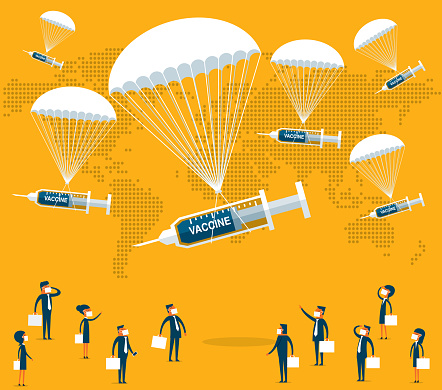 Vaccine falling in parachutes and business people waiting for them