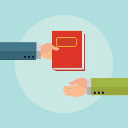 Giving a book or a ledger vector concept
