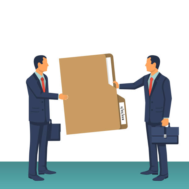 Giving a document vector Giving a document. Two businessmen at a meeting transfer a folder with documents from hand to hand. Vector illustration flat design style. Isolated on white background. passing giving stock illustrations