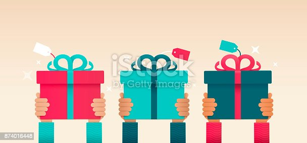 Hands raised holding present or gift.