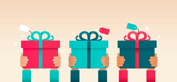 Giving A Gift Hands Raised - Stockowe grafiki wektorowe i więcej obrazów Antycypacja
