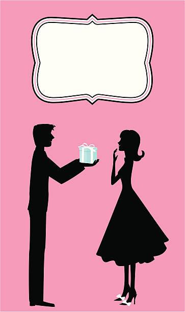 Giving a Gift vector art illustration
