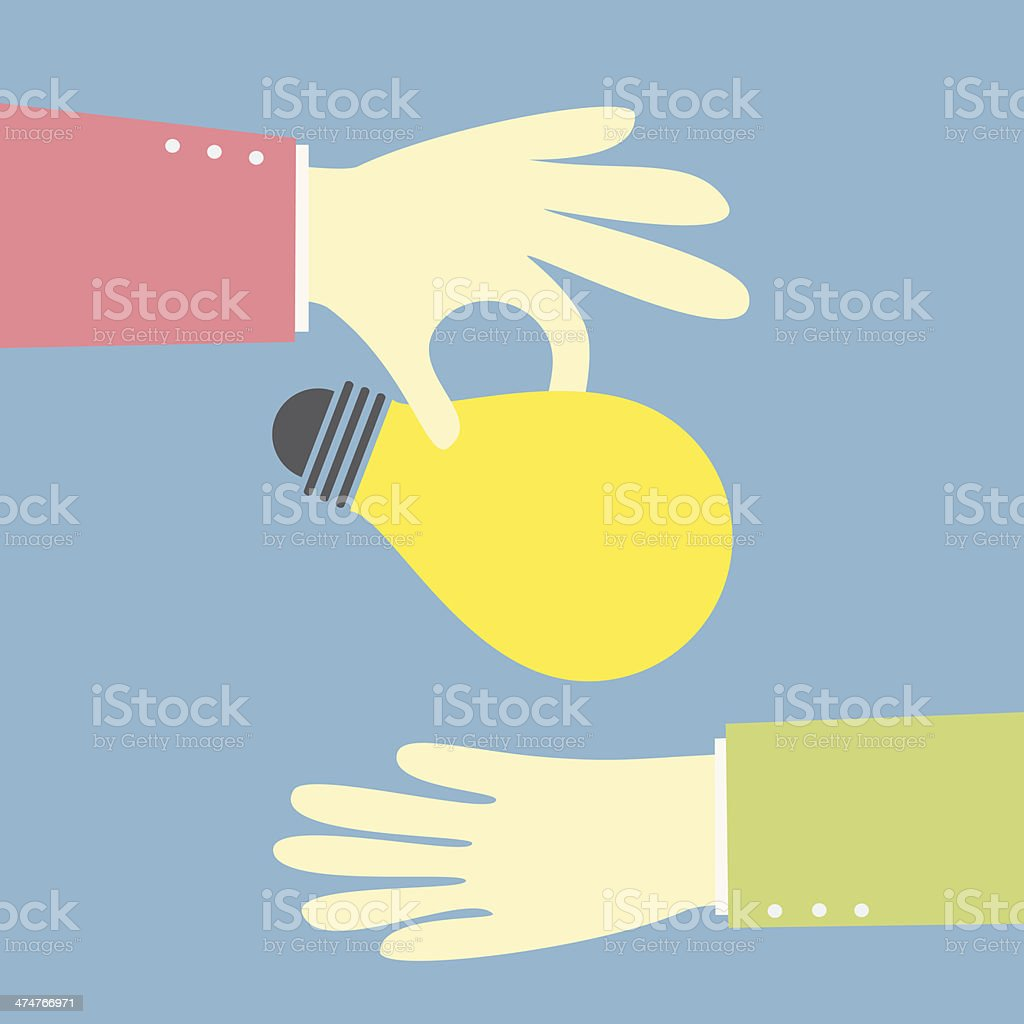 giving an idea bulb vector art illustration