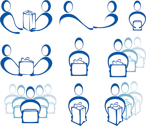 Giving and Receiving Icons 9 stylized graphics of people giving, donating or delivering boxes or bags or food.  food bank stock illustrations