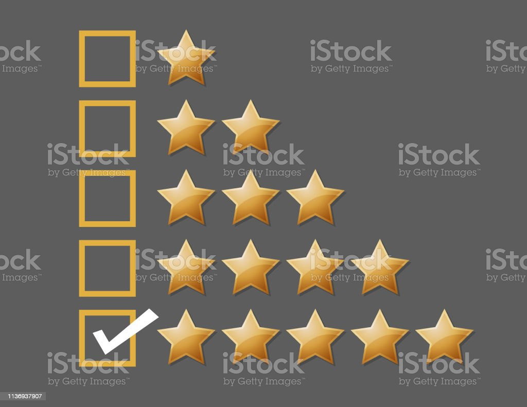 vector illustration of Giving five star rating feedback concept...