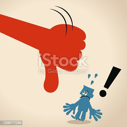 istock Giving huge Thumbs Down hand sign to blue man 1209777255